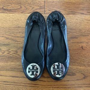 Tory Burch Ballet Flats Black & Silver Size 7
